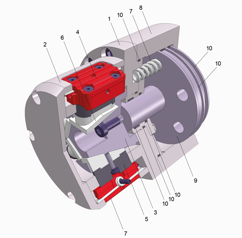 3D Sectional view, Winding Chucks and Winding Trunnions, Serie 3345